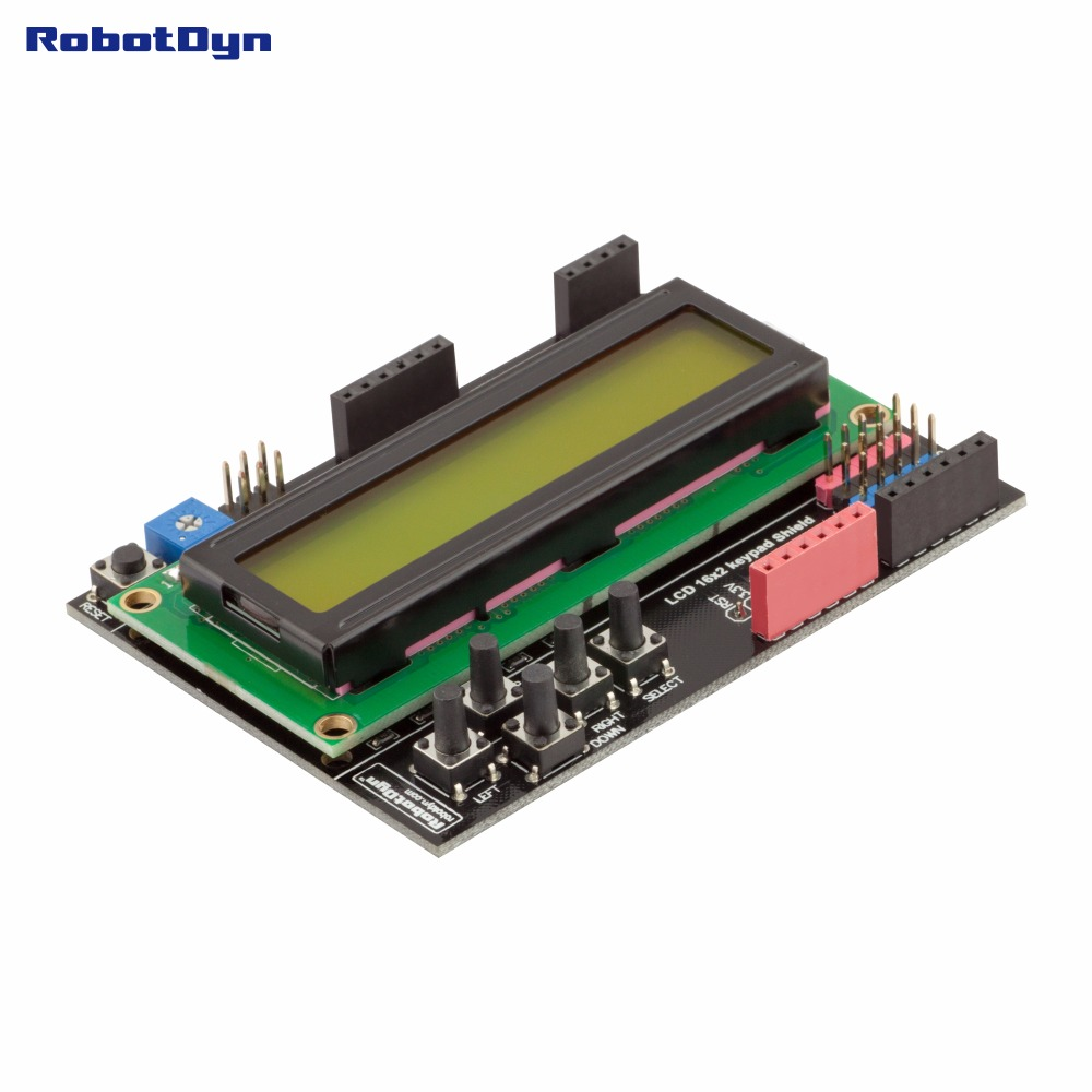 RUSSIAN (Cyrillic) LCD keypad Shield, 1602 display, for Arduino LCD Shield GREEN SCREEN