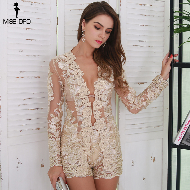Missord 2018 Sexy  Long Sleeve Embroidery Lace Playsuit See Through Skinny Rompers Two Pcs Women Elegant  Sets  FT8531