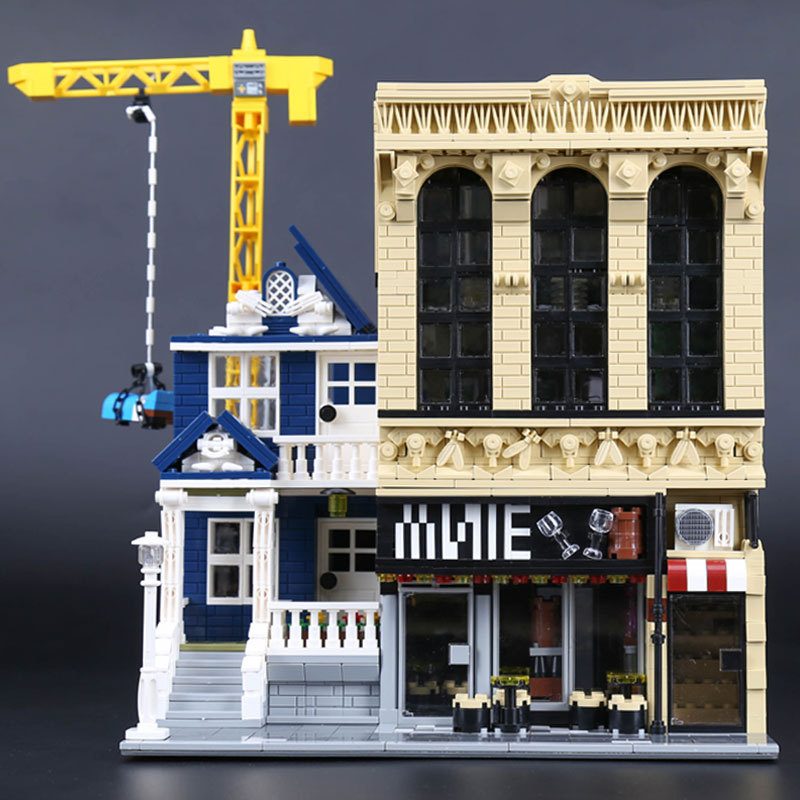 Lepin 15035 Creative Street View MOC Series legoing The Bars and Financial Companies Set Building Blocks Bricks Toys Gifts lepin 01006 5491pcs street view series toys