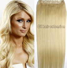 #613 lightest  blonde  Full Head 1pcs full head set  Brazilian Virgin remy human hair extensions clips in/on 26 colors available