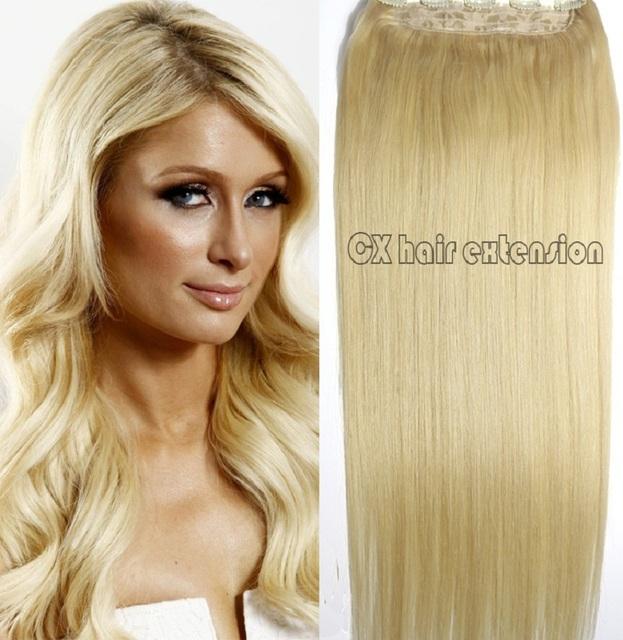 #613 mais leve loira Cabeça Cheia 1 pcs conjunto cabeça cheia Brasileiro Virgem remy extensões de cabelo humano clipes em/em 26 cores disponíveis