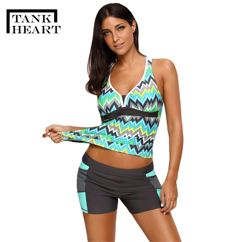 Two Piece Swimsuit Tankini Swimsuits Women Shorts Swim -2685