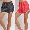 New Hot Summer Style Shorts Wave Dots Lace Tassels Women Shorts Elastic Waist Loose Casual Shorts Swimwear Loose Shorts SV023543