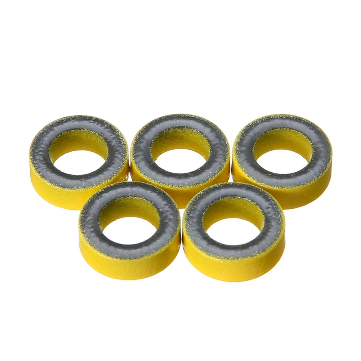 5pcs Yellow Micrometals T50-6 Carbonyl Iron Powder Toroidal Core RF Toroid HF HAM QRP Cores For RF Filters PFC Inductors Mayitr