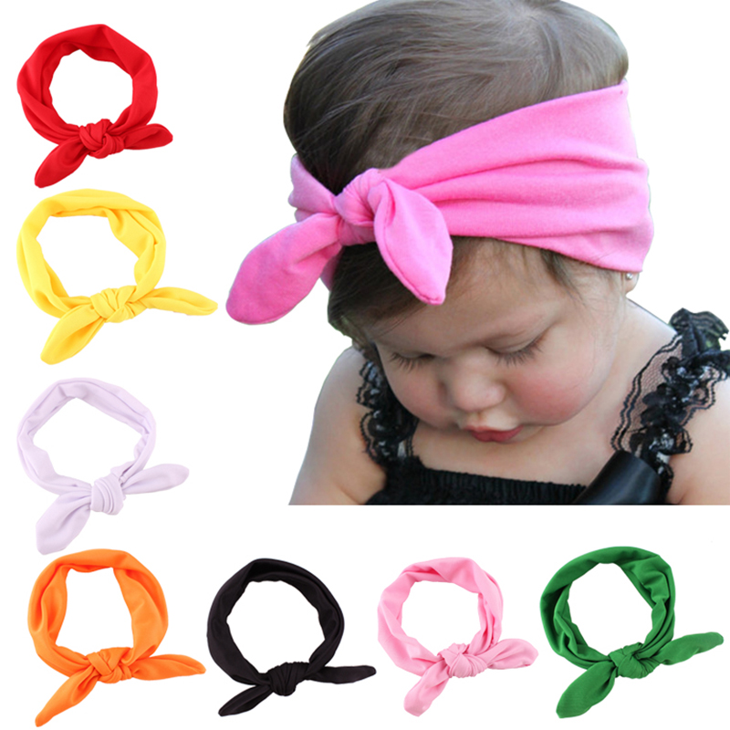 Baby Hair Cotton Headbands Elastic Bunny Ears Hair Band Head Wraps for Toddler Infant Girls-Random Color 1pcs
