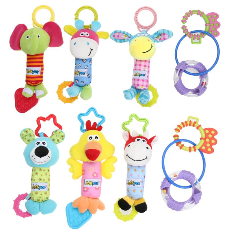 4pcs/set Newborn Infant Cute Animal Handbells Baby Rattle Developmental Bed Bells Toys Stroller Bed Hanging Toy Birthday Gift