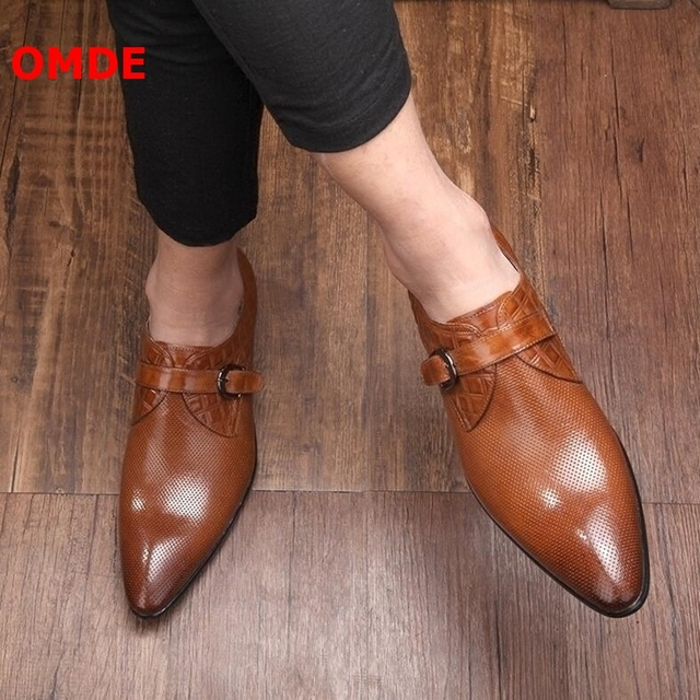 OMDE Pointed Toe Loafers Fashion British Style Slip On Men Leather Shoes Breathable Straps Buckle Mens Dress Shoes Wedding Shoes