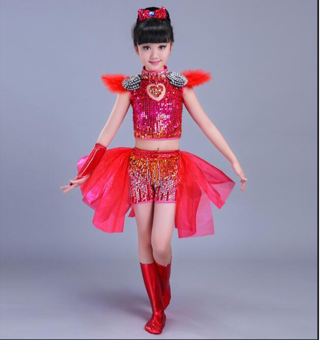 Детская одежда с блестками для бальных танцев, джаз, хип-хоп, сценическая одежда, костюмы для выступлений, одежда, топ, рубашка, шорты, сценическая одежда для мальчиков и девочек, танцевальные костюмы - Цвет: Розовый