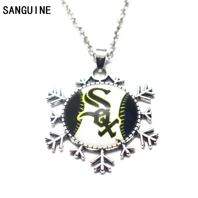Newest 1pcs/lot Baseball Chicago White Sox Glass Necklace Pendant Team Sports Silver Alloy DIY Jewelry (with 50 cm chains)