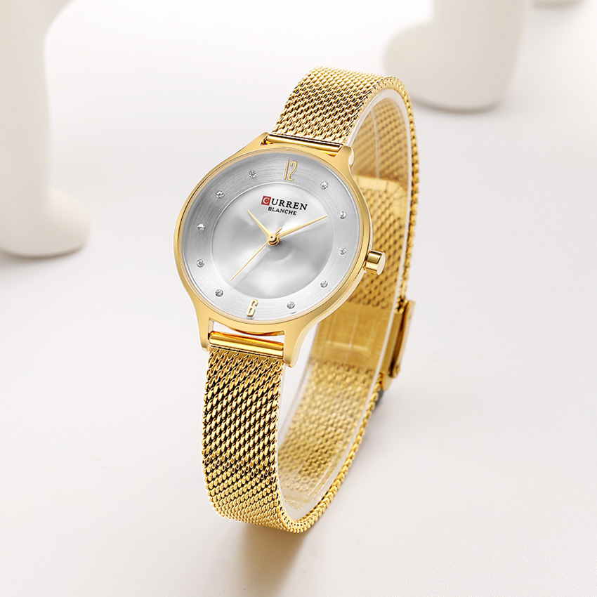 CURREN Golden Watches Women Top Luxury Brand Quartz Watch Women Gold Steel Women Watches Bracelet Watch Ladies Bayan Kol Saati(China)