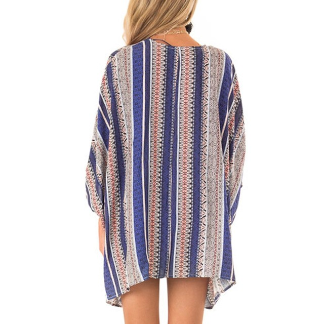 JAYCOSIN Blouses Fashion Womens Ladies loose shirts Casual Print Short Sleeve Summer Beach cardigan blouse Tops Cardigan 419