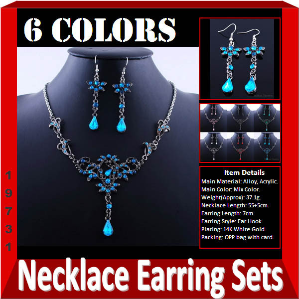 Overstock Fashion Alloy Jewelry Sets with Acrylic White Gold Plated Womens Girls Jewelry Set Mixed 6 Colors Options 6Sets/lot