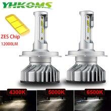 YHKOMS 4300K 5000K 6500K Canbus H4 H7 H11 H1 светодиодный H8 H9 H3 9005 9006 Автомобильные фары 60 Вт 12000LM зэс Автомобильная Противо-Туманная осветительная лампа 12V 24V