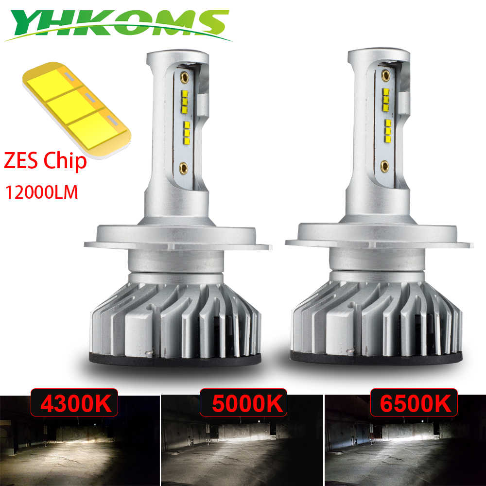 YHKOMS 4300K 5000K 6500K Canbus H4 H7 H11 H1 LED H8 H9 H3 9005 9006 Car Headlamp 60W 12000LM ZES Auto Fog Lighting Lamp 12V 24V