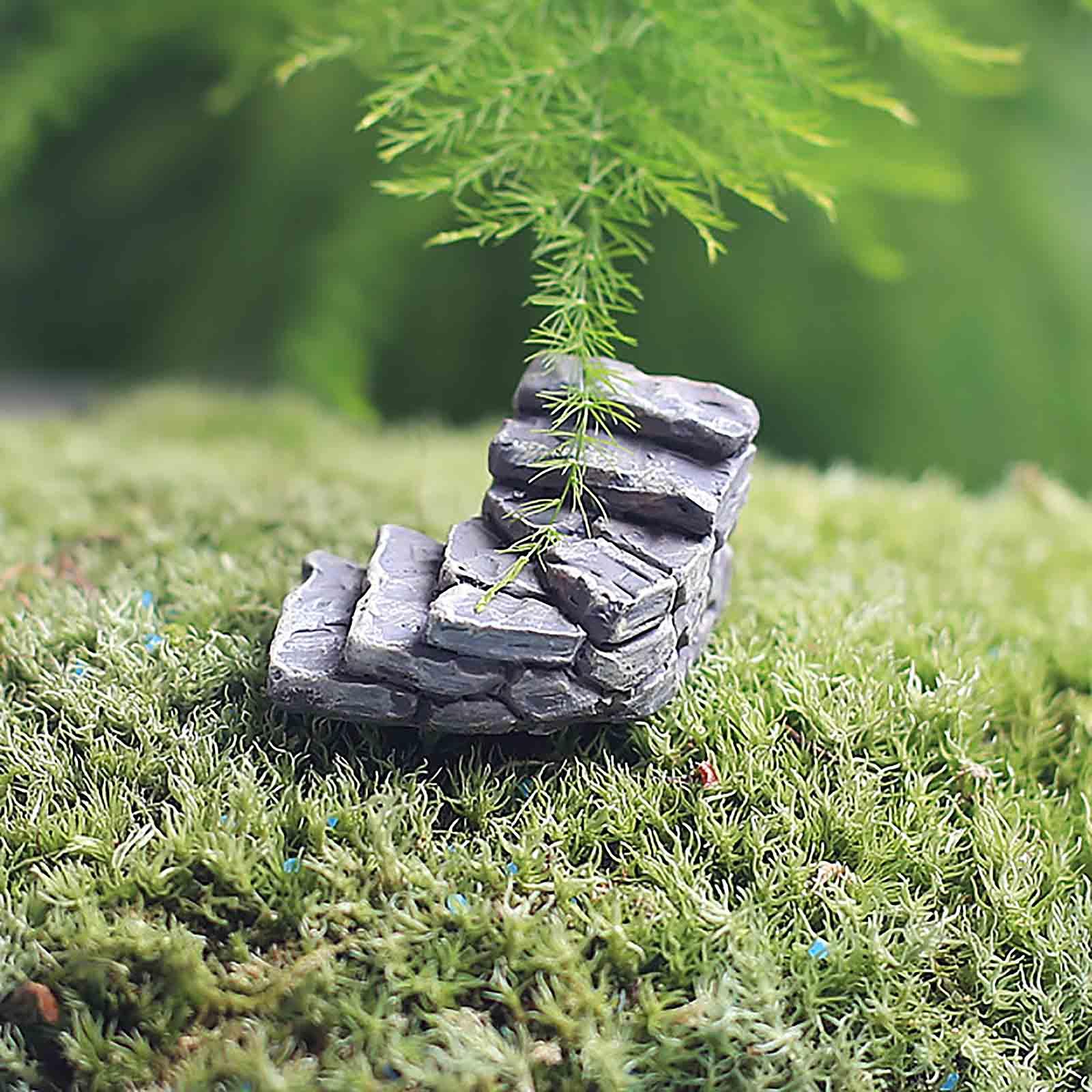 2Pcs Mini Cute Resin Crafts Fairy Garden Steps Miniature Decor Stone ...