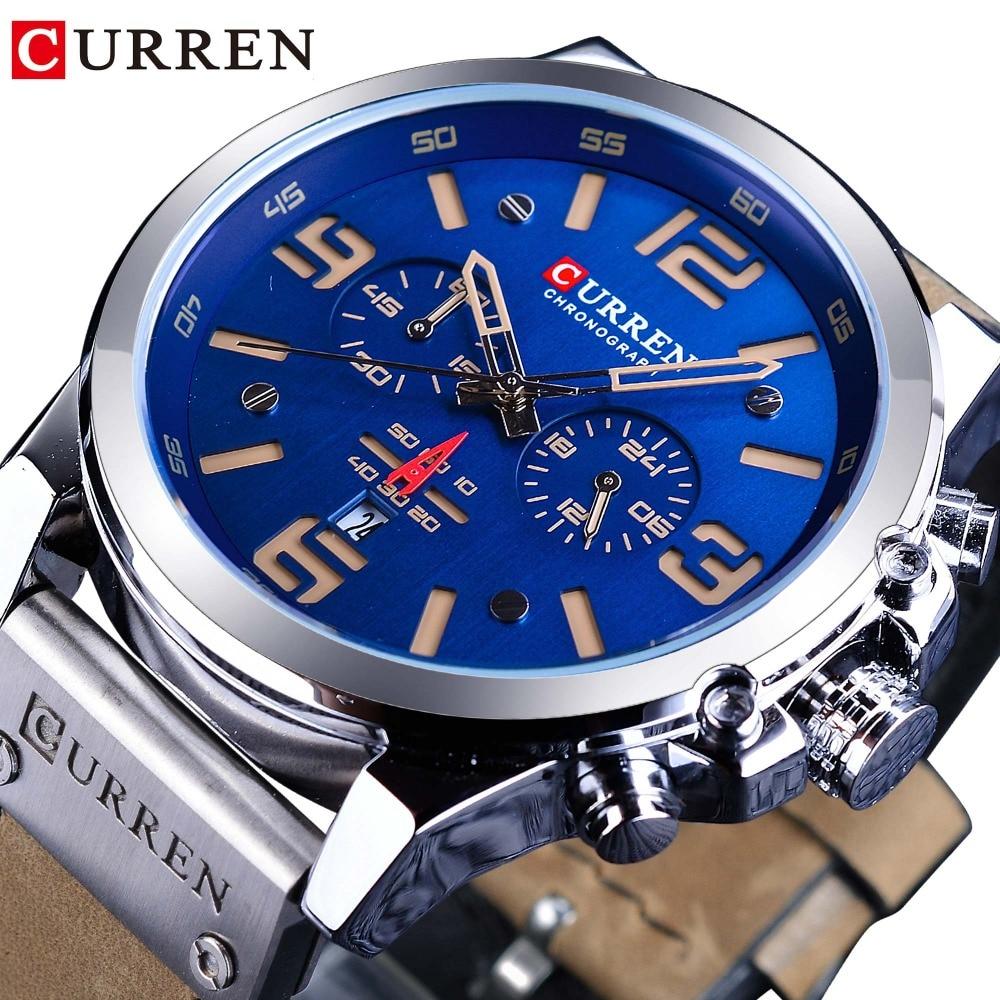 CURREN Blue Dial Brown Genuine Leather 3 Dial Calendar Display Men Quartz Military Sport Wrist Watch Top Brand Luxury Male Clock