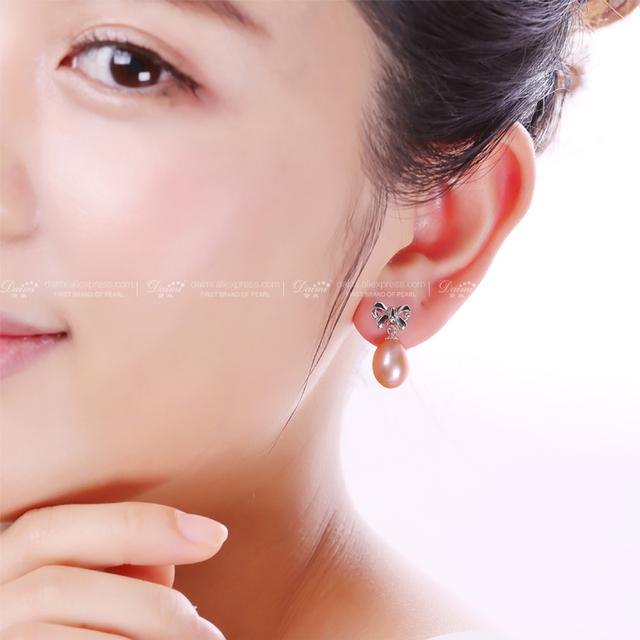 Women 100% Genuine Natural Pearl Bowknot Earrings