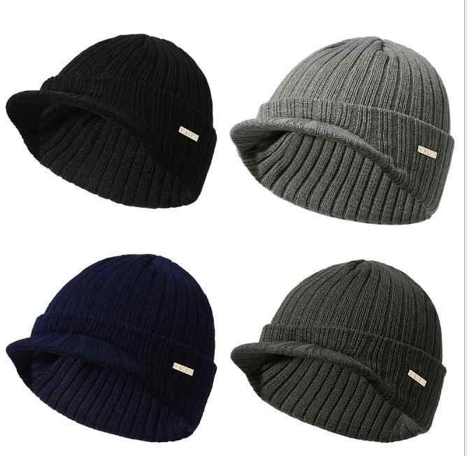 2019 New Fashion Men Women s Hat Stripe Knitting Beanie With Brim Soft Warm  Peaked Cap Autumn 11765b673365