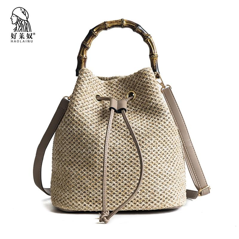2018 Straw Bucket Bags Women Summer Rattan Shoulder Bags Handmade Weaving Beach Cross Body Bag Lady Kintted Handbag Bali