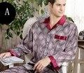 B501Men ropa de Noche de Seda de Manga Larga Pantalones Largos de dos piezas traje de primavera ropa de dormir conjunto pijama de seda delgada para hombre L XL 3XL 4XL envío libre sh