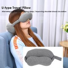 2 в 1 u-образная подушка для путешествий Удобная хлопковая маска для глаз Подушка для сна для самолета надувная подушка для шеи для сна домашний текстиль