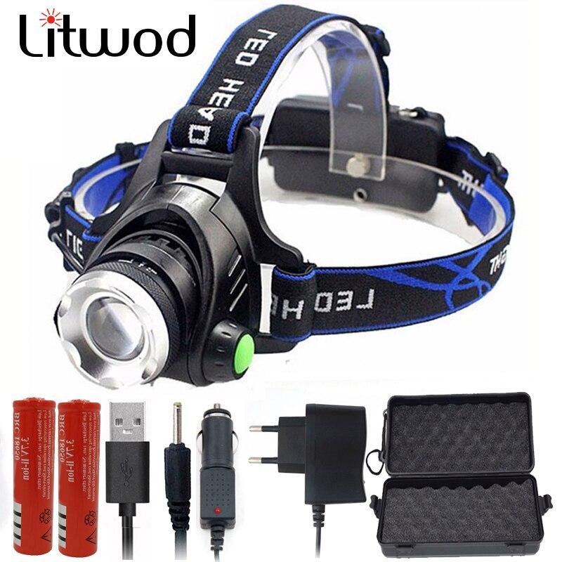 Litwod T6 L2 led scheinwerfer scheinwerfer zoombare einstellbare kopf taschenlampe lampe taschenlampe 5000lm XM-L 18650 batterie front licht