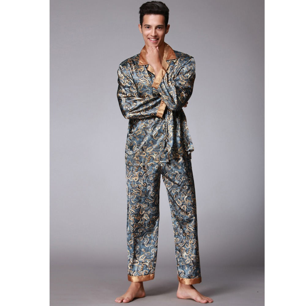 Navyblue New Men's Twinset Pajamas Sets Satin Silk Turn-down Collar Long Sleeve Pyjama Suits Casual Sleepwear Loose Home Wear
