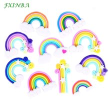 FXINBA 5Pcs/Lot Cute Fimo Rainbow Charms For Slime Clay Candy DIY Flatback Charms Cake Phone Decoration Slime Supplies Kit Toys(China)