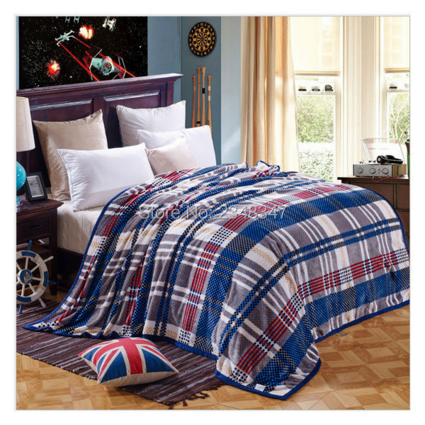 b1d37a23be Quality Classic Plush Soft Faux Mink Flannel Fleece Blanket Throws Twin Full  Queen Size Blue Check Plaid Fashion Sofa Air Cover-in Blankets from Home  ...