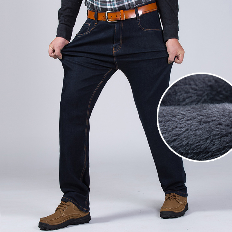 Winter Classic Big Size Fleece Jeans For Man Baggy Warm Black Business Denim Trousers Men's Stretch Office Overalls Pants 2XMR24