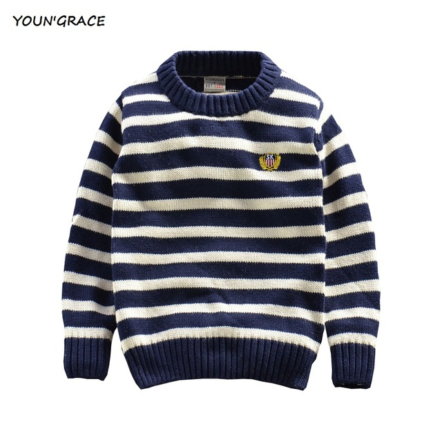 A.I.K 2017 New Boys Winter Navy Striped Sweater Brand Children Long Sleeve Cotton Knitted Sweaters Boys Spring Pullover, YC181