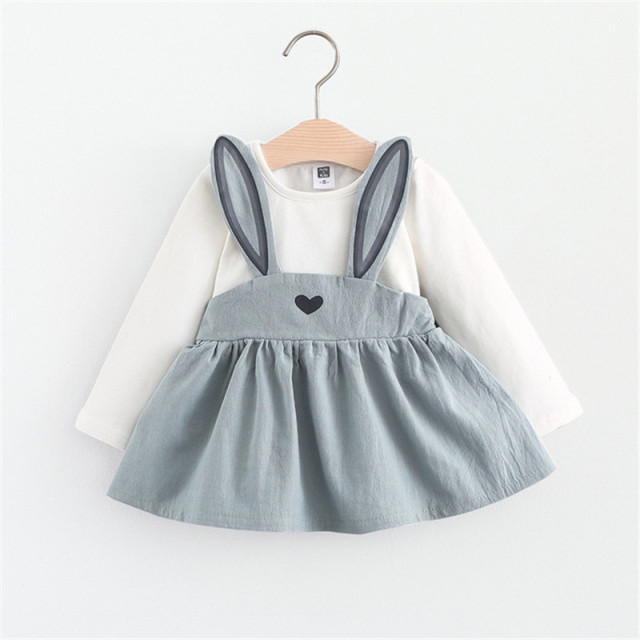 Baby Girl Animal Rabbit Ear Style Long Sleeve Dress