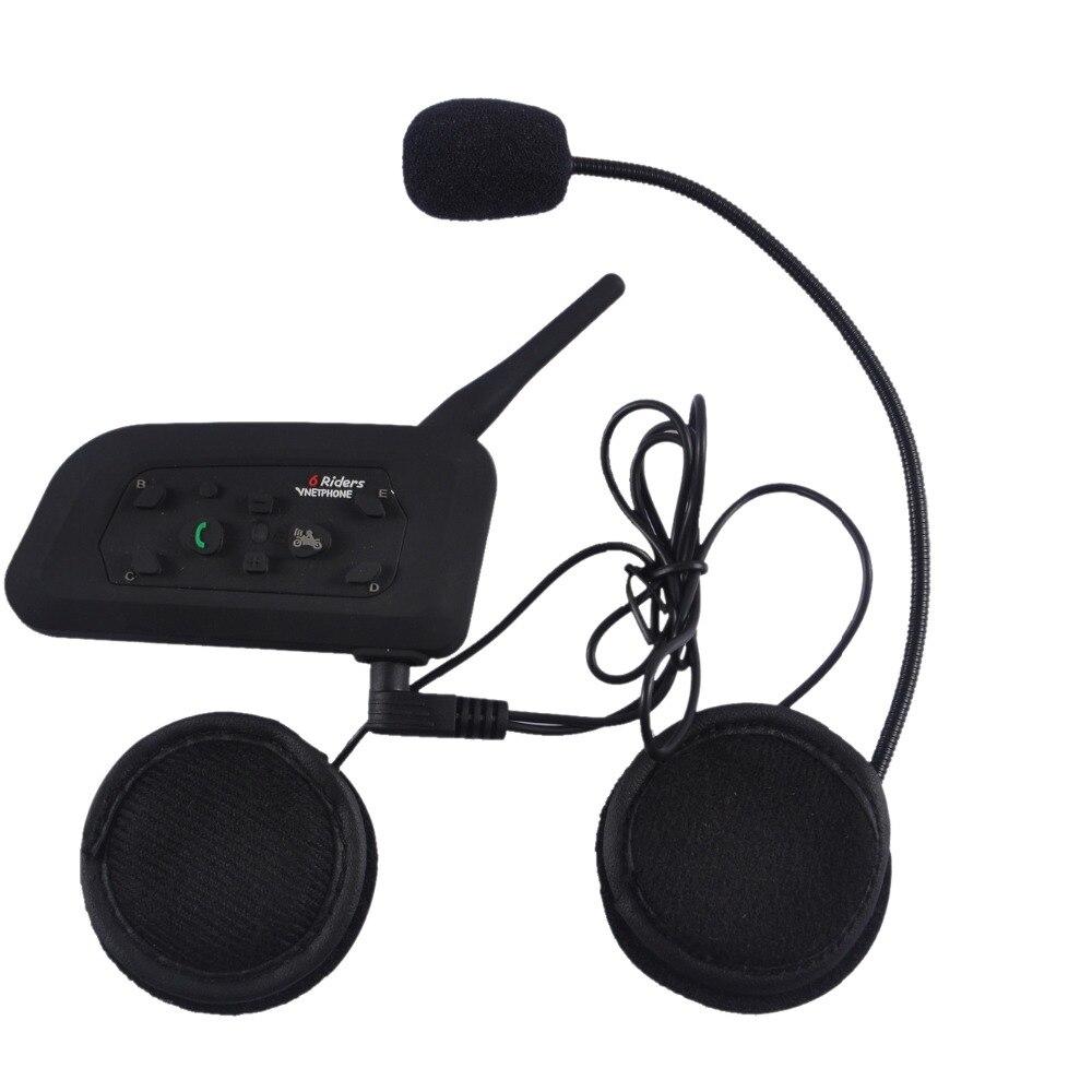 Bluetooth Intercom Interphone V6-1200 Waterproof Motorcycle Wireless Headset Accessories 1200M Helmet Headset 6 Riders