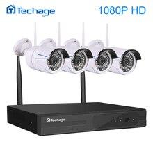 Techage 4CH 1080 P Беспроводной NVR комплект Wi-Fi видеонаблюдения Системы ИК Открытый Водонепроницаемый 1080 P 2.0MP IP Камера P2P видео видеонаблюдения