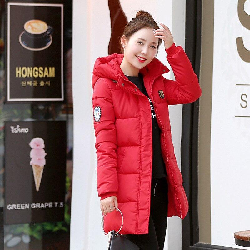 Red New Casual   Parkas   Warm Ladies Coat Jaqueta Feminina Jacket Women   Parkas   Cotton Female Winter Jacket Plus Sizes Overcoat