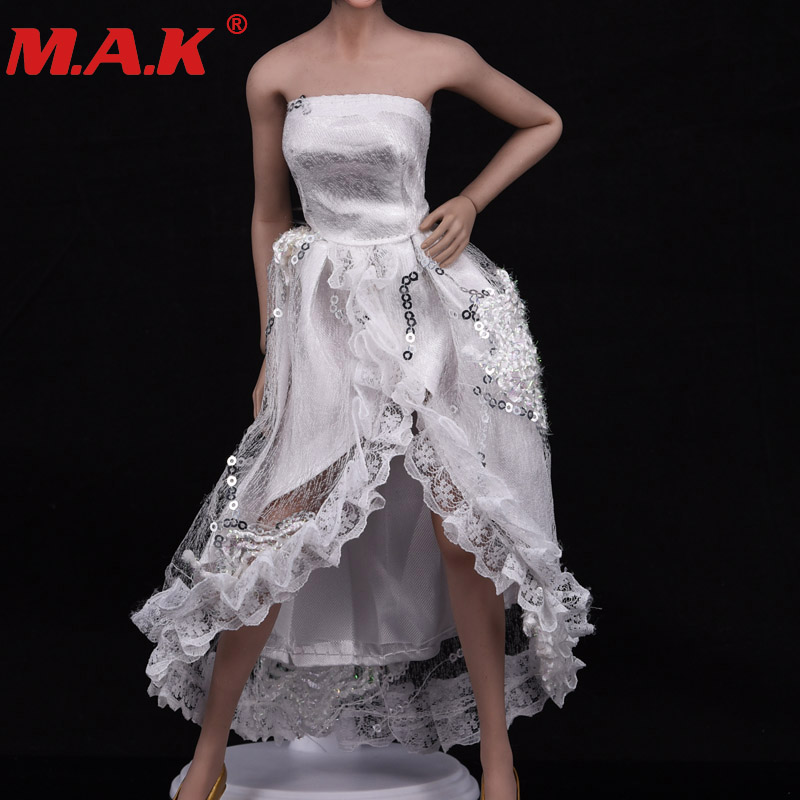 "White Tube Top Shirt 1//6 Scale Evening Dress Wedding Cloth For 12/"" Female Body"