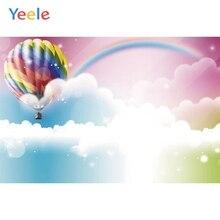 Fondos fotográficos personalizados con globos de aire caliente con nubes de cielo arcoíris de Yeele para estudio fotográfico