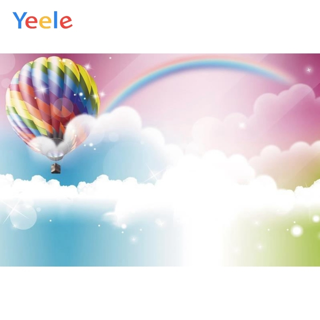 Yeele قوس قزح السماء الغيوم بالونات الهواء الساخن صورة شخصية التصوير الخلفيات التصوير الخلفيات ل استوديو الصور