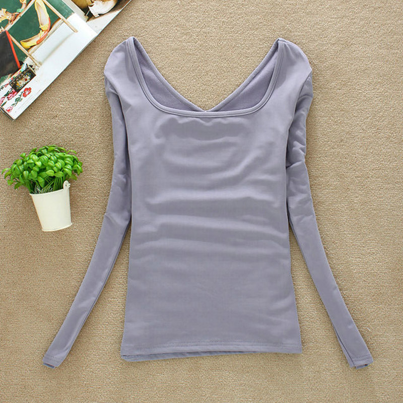 2019 Autumn Winter NEW Tops Women's Fashion UV Neck T-shirts Long Sleeve Velvet Warm Underwear All-match Shirt With Fleece SY022