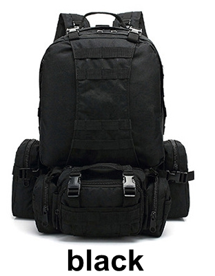 55L sac à dos d'escalade combinaison double sac à bandoulière + sac de taille + sac à bandoulière sac à dos tactique extérieur noir