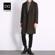 Men Winter Long Trench Coat Double Breasted Buttons Wool Coat for Men Woolen Overcoat(China)