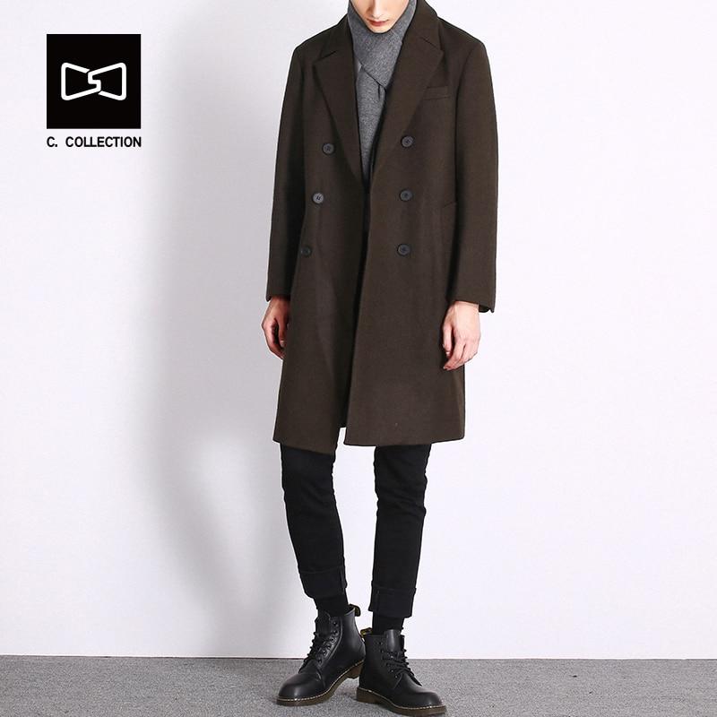 Men Winter Long Trench Coat Double Breasted Buttons Wool Coat for Men Woolen Overcoat