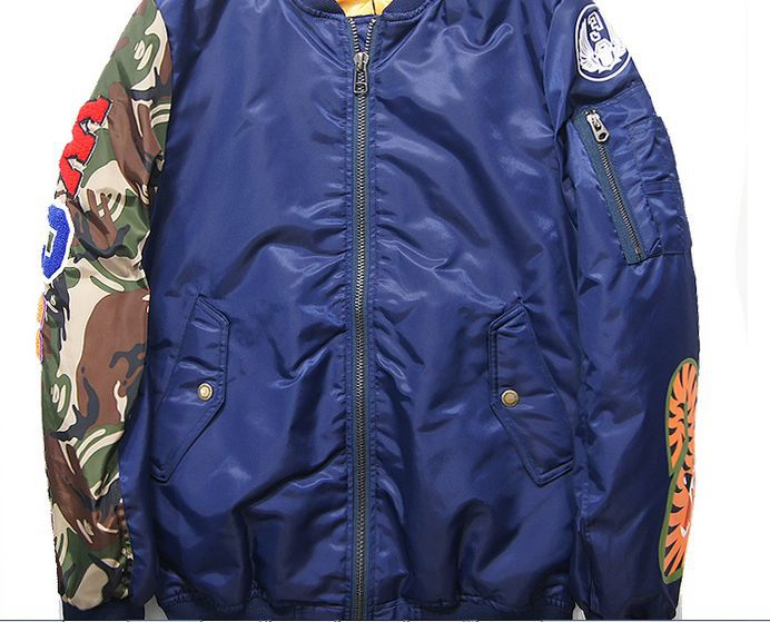 e6341e160d72 2015 Harajuku Tide brand bape shark jacket Men winter camo down coat  Military bomber jacket Embroidery outwear Baseball jackets