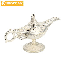 Dropshopping Zinc Alloy Hollow Out Carved Aladdin Magic Lamp Lamp Wishing Tea Pot Genie Lamp Home Decoration Gifts Metal Crafts(China)
