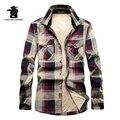 Novo inverno Dos Homens do Velo Casual Camisas Xadrez Marca de Moda de Alta Qualidade 100% Algodão Plus Size Engrossar Camisa Homens Casuais C16E1598