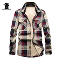 Winter New Mens Fleece Casual Shirts Brand Fashion Plaid High Quality 100% Cotton Plus Size Thicken Casual Shirt Men C16E1598