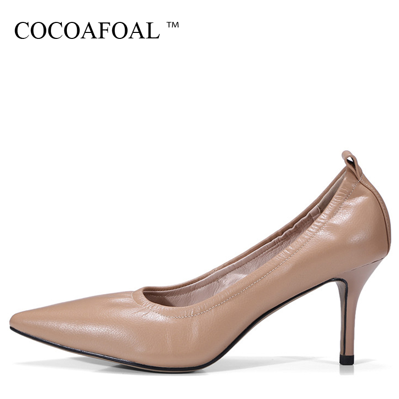 COCOAFOAL Woman Snakeskin High Heels Shoes Pink Black Brown Fashion Sexy Pointed Toe Pumps Genuine Leather Career Pumps 2017 cocoafoal woman pointed toe pumps pink black brown fashion sexy high heels shoes snakeskin genuine leather career pumps 2017