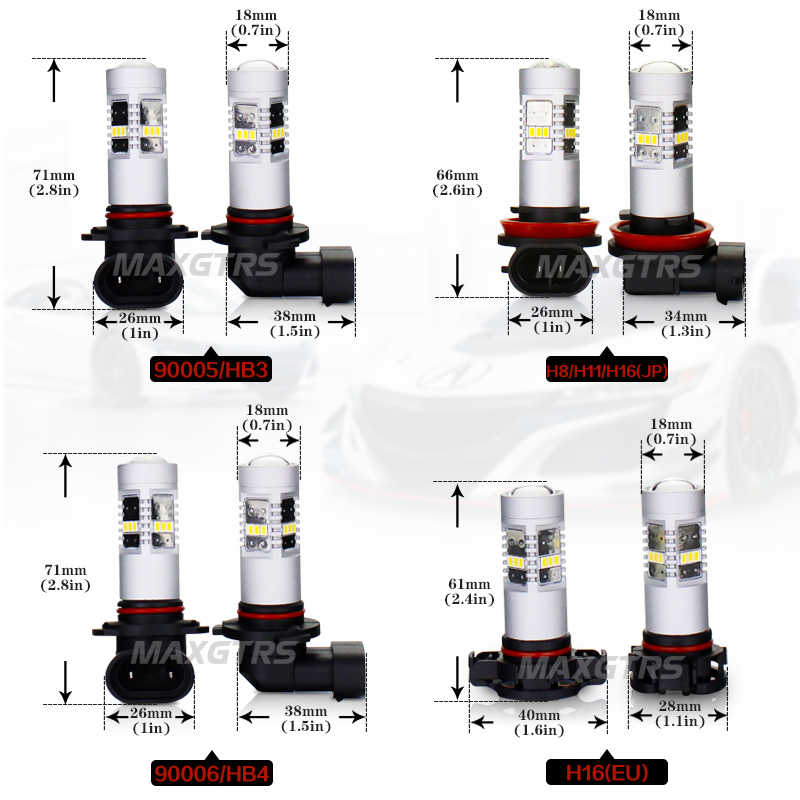 2x H8 H11 9005 9006 H16 HB3 HB4 Led Fog Bulb 3020 Chips Car Daytime Running Light 4300K/6000K Warm White Lamps DRL Headlights