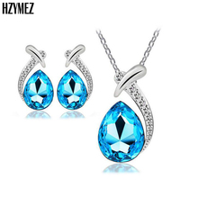 HZYMEZ New Multicolor Jewelery Set Water Drop Glass Crystal Necklaces Earrings Inlay Rhinestones Jewelry Sets For Women Gifts