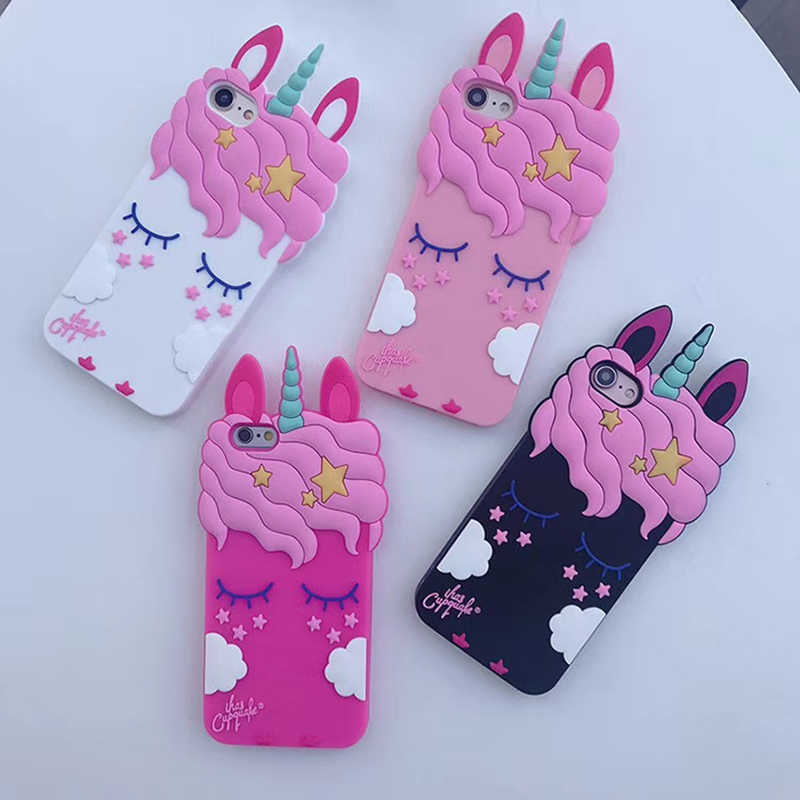 3D Cartoon Pink Unicorn Soft Silicone Case For iphone X 8 7 6 6s plus 5 s SE XS XR XS Max Cute Horse Case Rubber Bunny  Cover